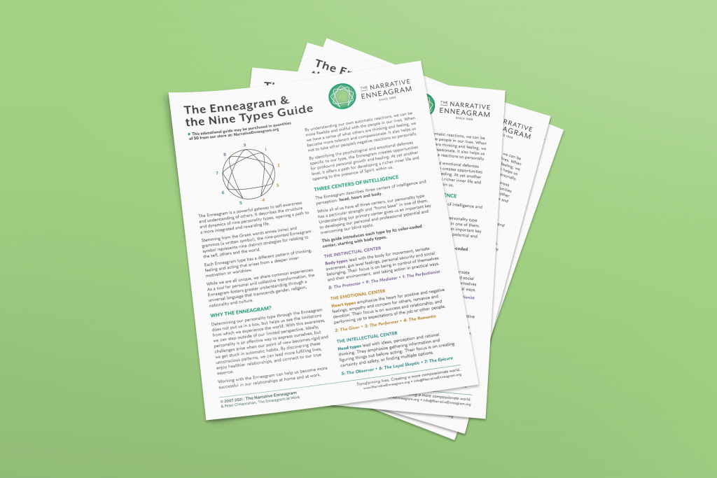 stack of Enneagram guides on lime green background
